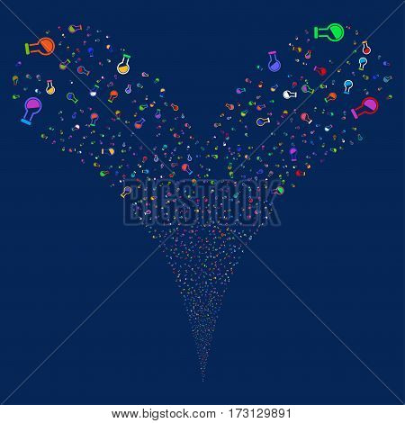 Retort fireworks stream. Vector illustration style is flat bright multicolored iconic symbols on a blue background. Object double fountain made from random pictograms.