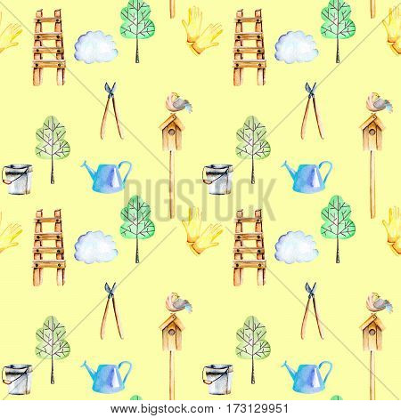 Seamless pattern with watercolor objects of garden tools, hand drawn isolated on a yellow background