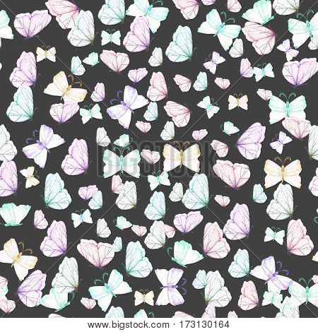 Seamless pattern with watercolor tender butterflies, hand drawn on a dark background