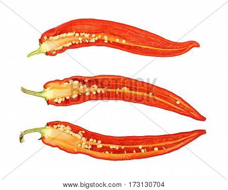 Three Cut Hot Chili Peppers Isolated On White