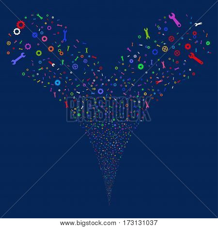 Setup Tools fireworks stream. Vector illustration style is flat bright multicolored iconic symbols on a blue background. Object double fountain created from random design elements.