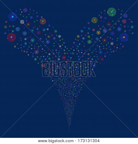 Solar System fireworks stream. Vector illustration style is flat bright multicolored iconic symbols on a blue background. Object double fountain constructed from random icons.