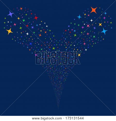 Space Star fireworks stream. Vector illustration style is flat bright multicolored iconic symbols on a blue background. Object double fountain organized from random symbols.