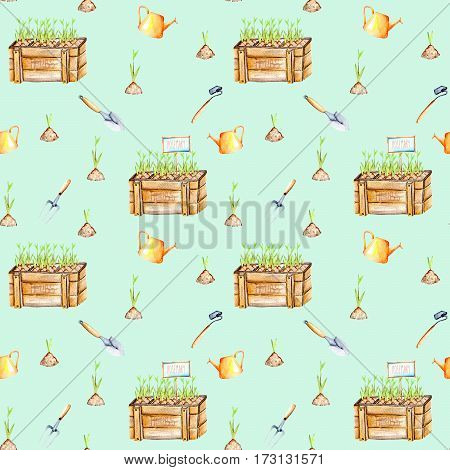 Seamless pattern with isolated watercolor seedling in a wood boxes and garden tools, painted on a blue background
