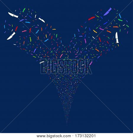 Surgery Knife fireworks stream. Vector illustration style is flat bright multicolored iconic symbols on a blue background. Object double fountain made from random symbols.