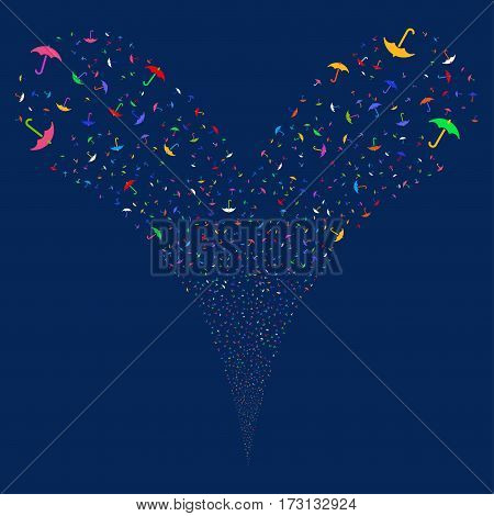 Umbrella fireworks stream. Vector illustration style is flat bright multicolored iconic symbols on a blue background. Object double fountain organized from random pictographs.