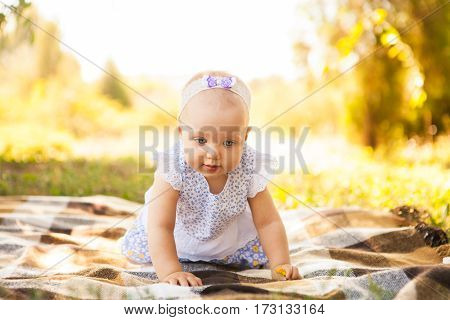 Outdoor Portrait Of A Baby On All Fours. Crawling On Knees Child On The Grass In A Summer Park
