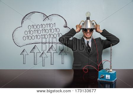 100101000000 text with vintage businessman and machine at office