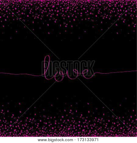 The cover design. Depicts the word love in pink and many pink spots on a black background. Can be used as greetings for birthday or invitations.