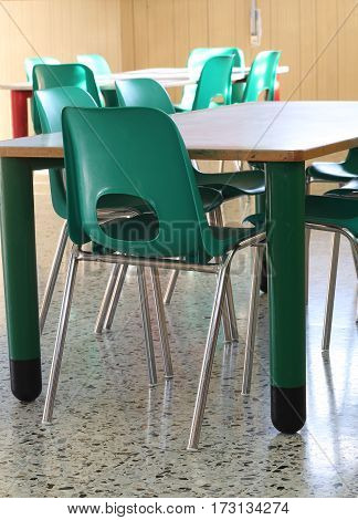 Classroom Of A School With Green Chairs And Small Tables To Have