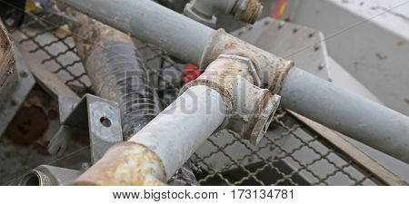 Rusty Iron Pipe And Other Ferrous Material Ready For Recycling