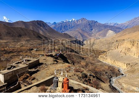view of the mountains from the temple in the village of jharkot Lower Mustang Nepal