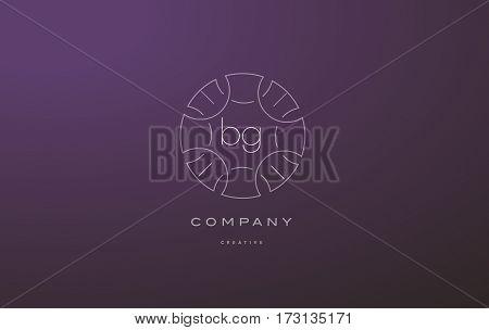 Bg B G Monogram Floral Line Art Flower Letter Company Logo Icon Design