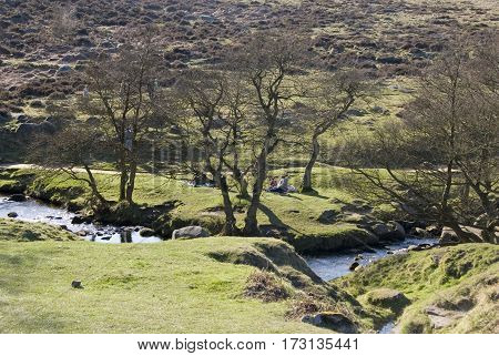 Derbyshire, UK-16 Oct 2014: Burbage Brook flows across moorland on 16 Oct at Longshaw Estate, Peak District, Derbyshire, UK