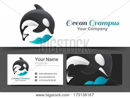 Grampus Wave Corporate Logo and Business Card Sign Template. Creative Design with Colorful Logotype Visual Identity Composition Made of Multicolored Element. Vector Illustration.