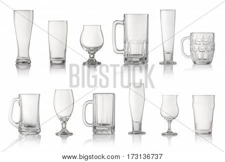 Set of different beer glasses isolated on white.