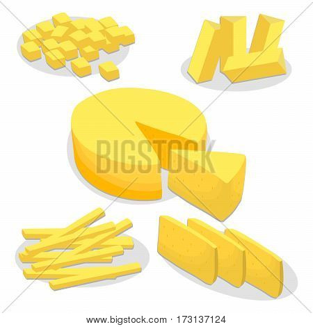 Vector illustration logo for whole yellow cottage cheese Parmesan cutting pieces sliced on background, cheese drawing pattern consisting of tag label bow Roquefort appetizer nutrition