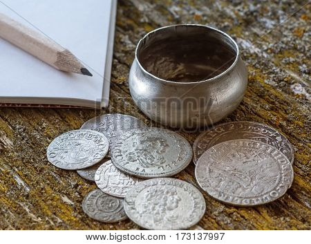 old money of the Grand Duchy of Lithuania tymf coins metal retro style selective focus retro style