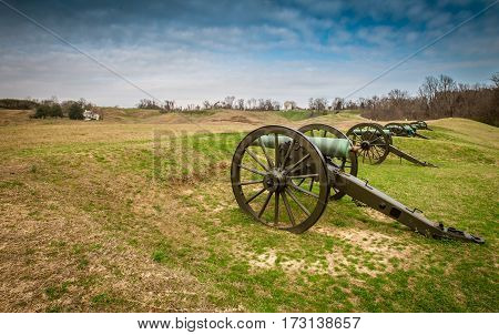 Old cannons on the battlefield in Vicksburg Mississippi