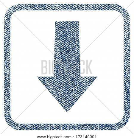 Arrow Down vector textured icon for overlay watermark stamps. Blue jeans fabric vectorized texture. Symbol with unclean design inside rounded rectangular frame.