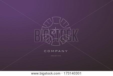 Zh Z H Monogram Floral Line Art Flower Letter Company Logo Icon Design