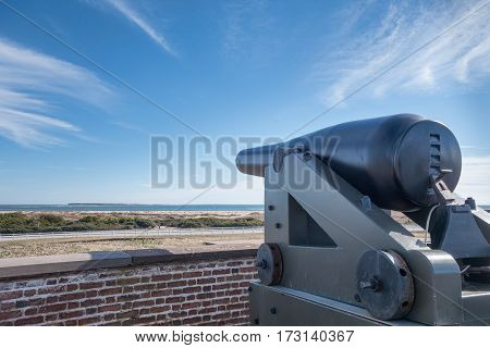 Cannons at the Old Civil War Fort Macom in North Carolina. This Fort was Designed by General Robert E. Lee