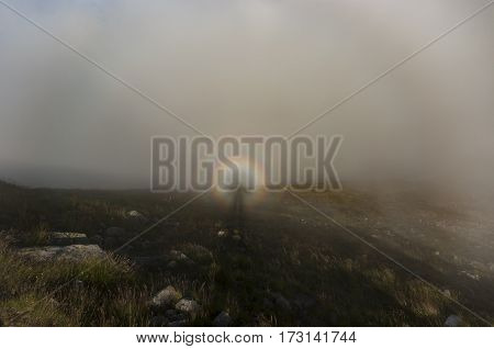 Brocken spectre in Western Tatra Mountains. Poland.