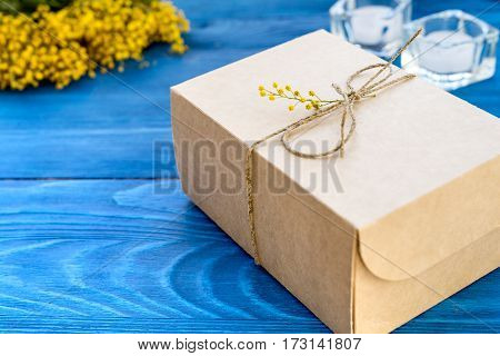 concept gift flowers on wooden table mock up.