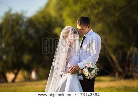 Groom and bride hug in a white dress on a background of nature. Strong hug with love. Wedding photography. Happy family hug