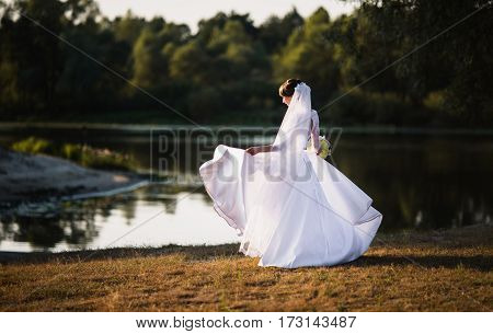 The bride in a white dress on nature background. Wedding photography.