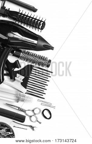 Tools hairdresser's top view on white isolate
