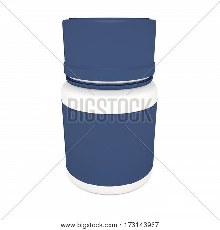 Medicine Concept: Blank Blue Pill Bottle 3d illustration isolated on white background