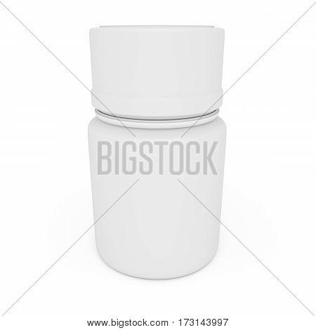 Medicine Concept: Blank White Pill Bottle 3d illustration isolated on white background