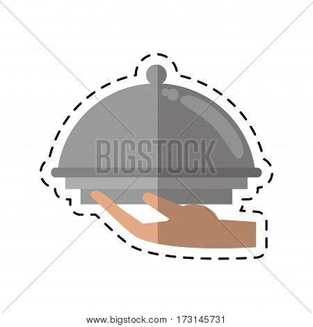 cartoon hand tray catering service vector illustration eps 10