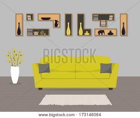 Living room with yellow sofa and gray pillows. There is also a shelves with books and home decor, a vase with flowers in the picture. Vector illustration.