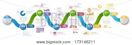 Colorful wobble template business concept wave timeline arrows. Infographics layout with steps, workflow history with diagram, presentation and graph