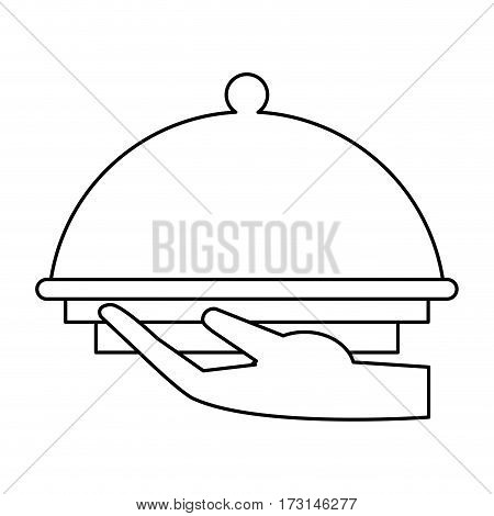 hand tray catering service thin line vector illustration eps 10