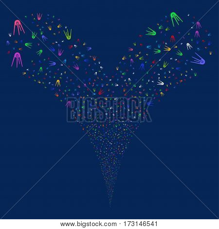First Satellite fireworks stream. Vector illustration style is flat bright multicolored iconic symbols on a blue background. Object double fountain done from random icons.
