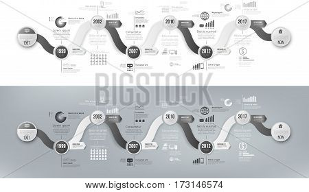 Black and white template business concept wave timeline arrows. Infographics layout with 6 steps, workflow history with diagram, presentation and graph
