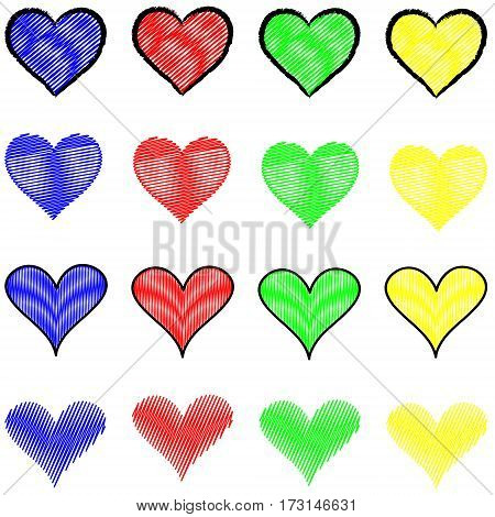 Abstract Depiction of a series of hearts in different colors and styles