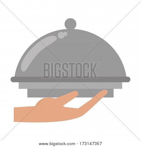 hand tray catering service vector illustration eps 10