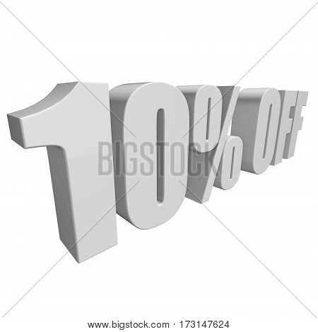 10 percent off letters on white background. 3d render isolated.