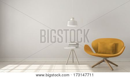Scandinavian Minimalistic Background, Orange Armchair With Table And Pendant Lamp On Herringbone Nat