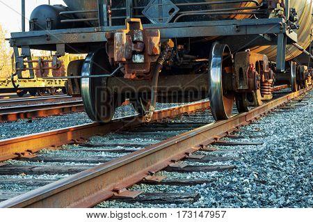 Railroad scene with cargo train road railway wagons