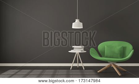Scandinavian Minimalistic Background, Green Armchair With Table And Pendant Lamp On Herringbone Natu