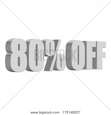 80 percent off letters on white background. 3d render isolated.