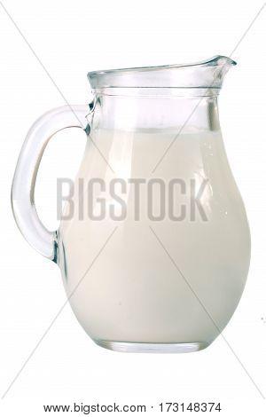jug of milk isolated on white background.