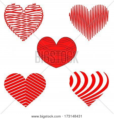Abstract Stylized set of Red and White Heart Patterns