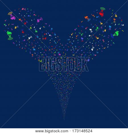 Radio Transmitter fireworks stream. Vector illustration style is flat bright multicolored iconic symbols on a blue background. Object double fountain done from random icons.