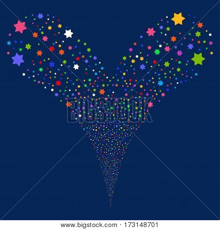 Six Pointed Star fireworks stream. Vector illustration style is flat bright multicolored iconic symbols on a blue background. Object double fountain combined from random pictograms.